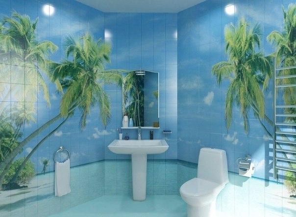 Фотообои для увеличения ванной комнаты